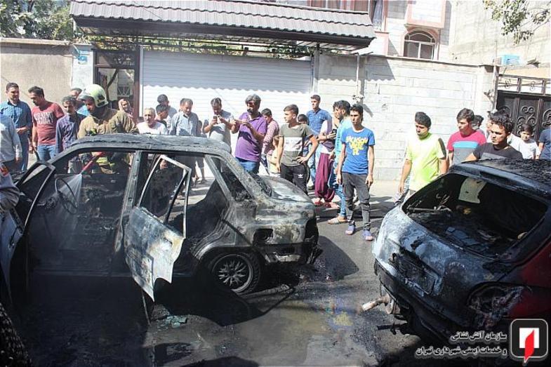 آتش سوزی 3 خودرو در شهرری