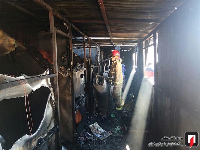کانکس کارگری در آتش نابود شد
