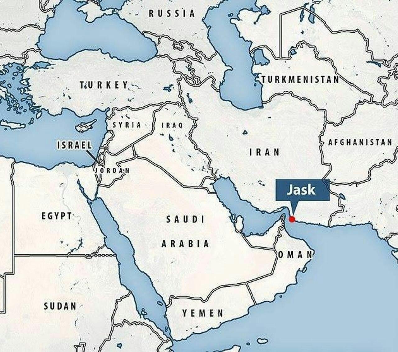 نقشه محل حادثه شلیک اشتباهی کروز به شناور کنارک در خلیج فارس