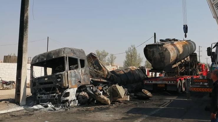 ۴ کشته و مصدوم در برخورد و انفجار یک دستگاه تانکر حمل سوخت با تریلر