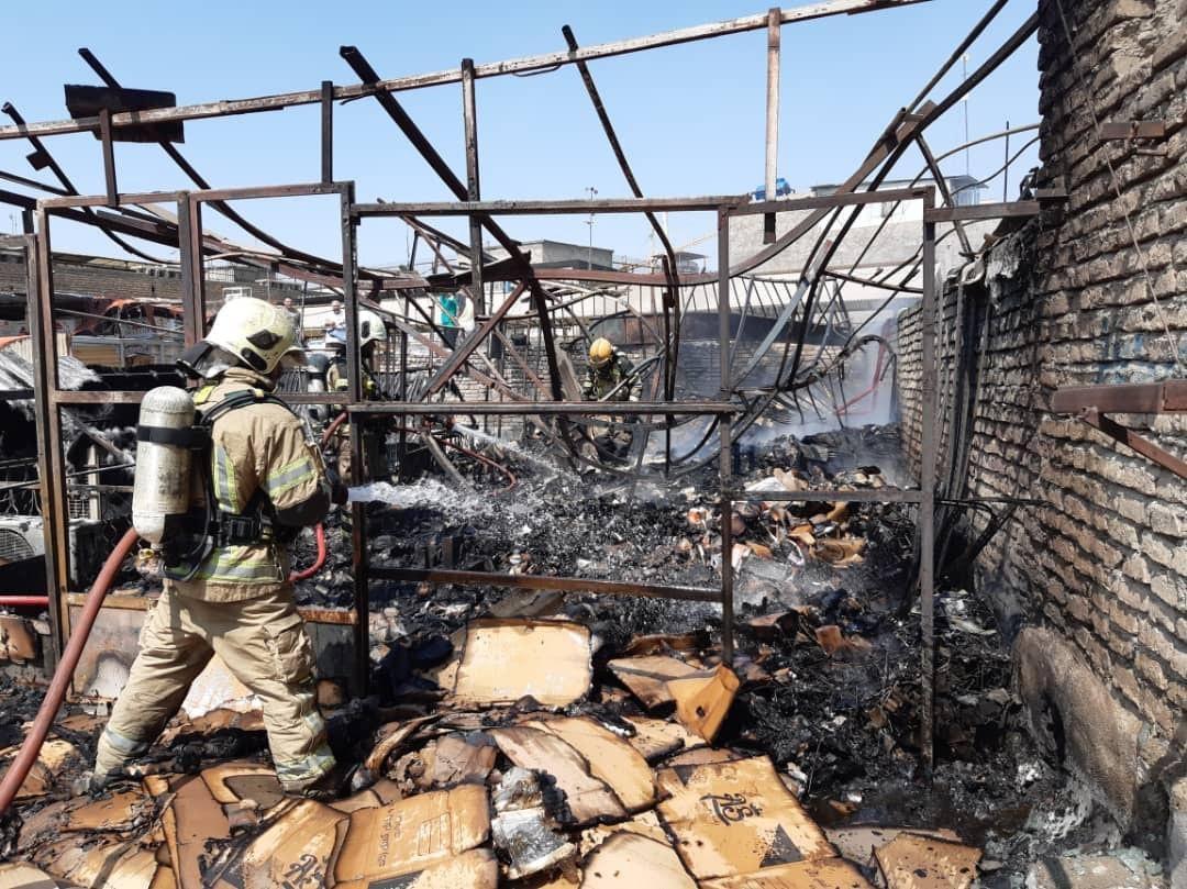 آتش سوزی در بازار تهران