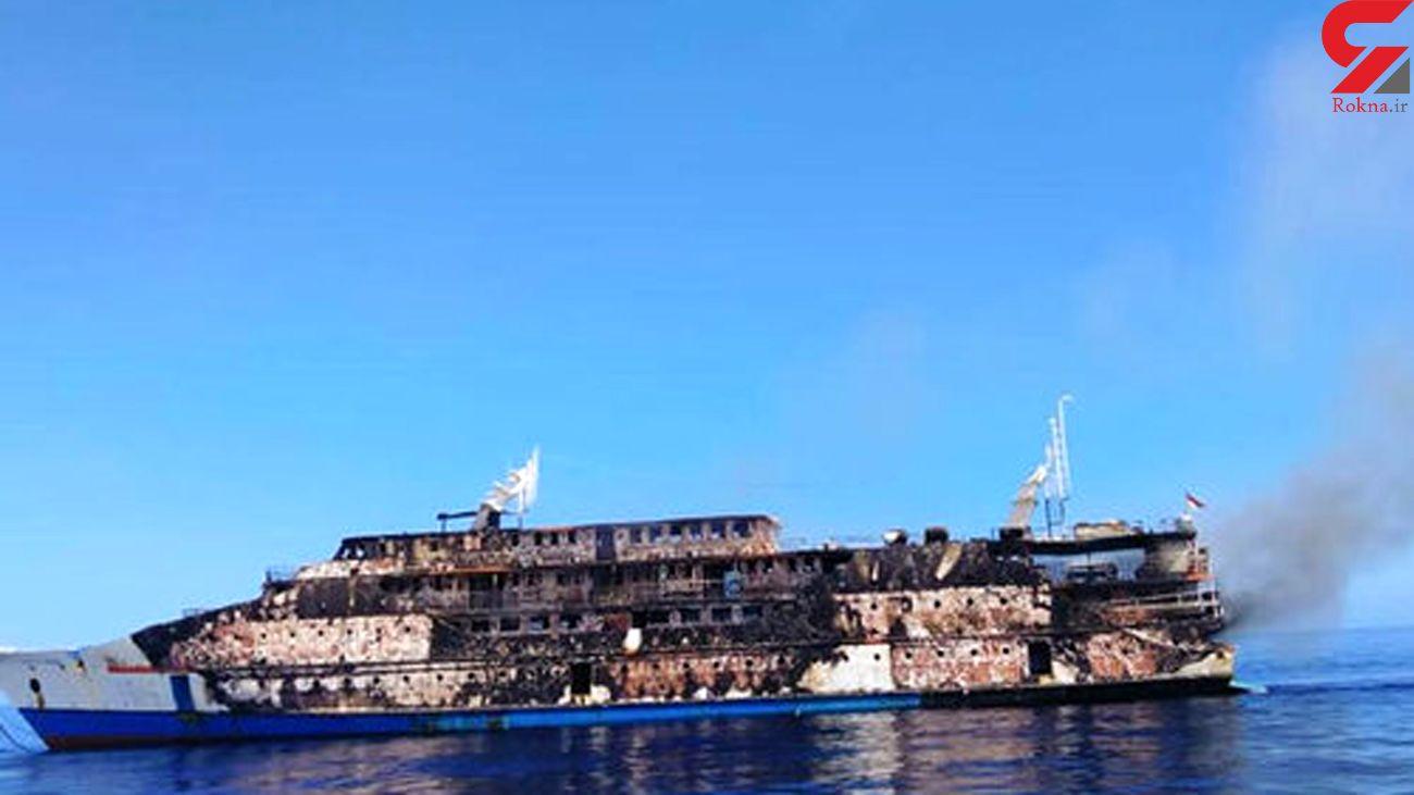 حادثه آتش سوزی در کشتی اندونزی + فیلم
