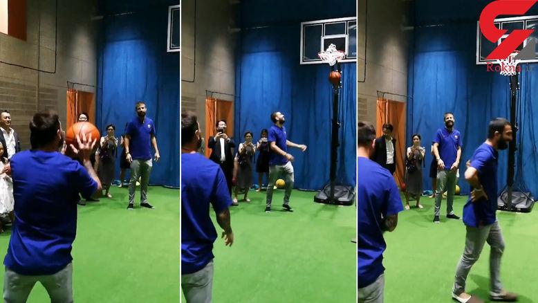 هنر نمایی لیونل مسی با توپ بسکتبال +فیلم