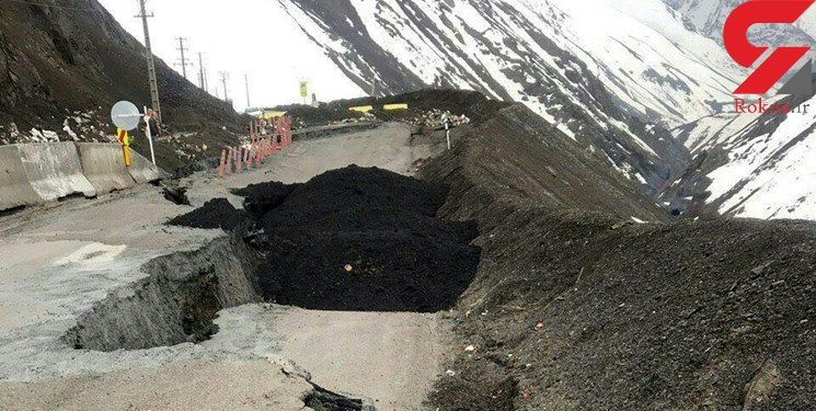 عکس وحشتناک از جاده چالوس/ جاده 80 متر دهان باز کرد