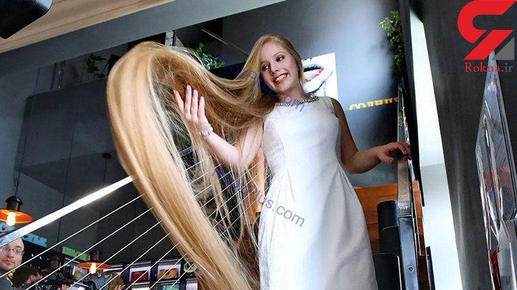 دختر نوجوان ۱۵ ساله اوکراینی صاحب عنوان بلندترین مو+عکس
