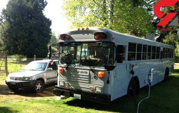 زندگی جالب یک خانواده در اتوبوس مدرسه! +تصاویر