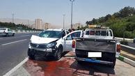 تصادف شدید رنو با  میتسوبیشی با یک رخمی در تهران +عکس ها