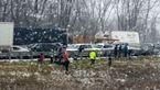 3 کشته تصادف زنجیره ای/ بوران و یخ زدگی عامل سانحه رانندگی + فیلم و عکس
