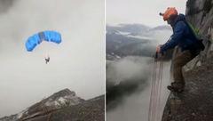 پرش هولناک از ارتفاع با چتر باز + فیلم و عکس باورنکردنی