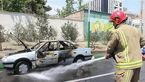 آتش گرفتن پژو ۴۰۵ حین حرکت در شهرک اکباتان +عکس
