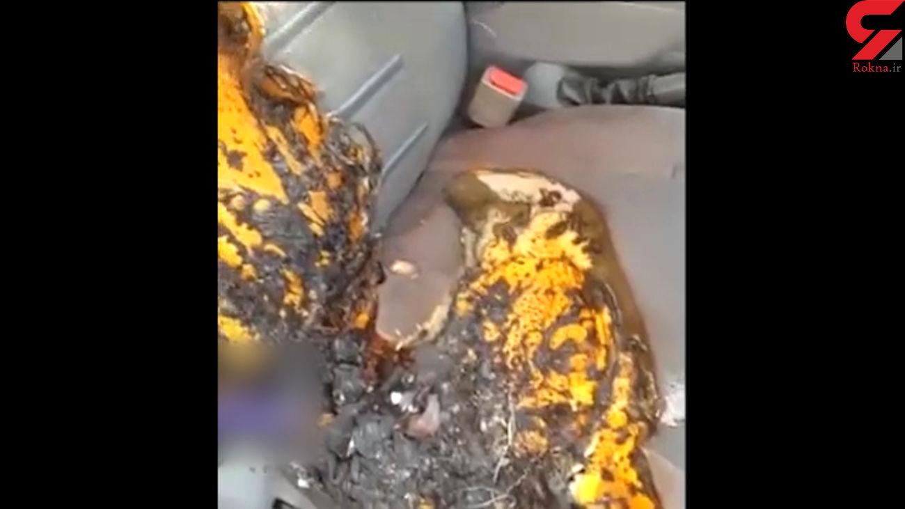 انفجار و آتش گرفتن باتری گوشی در خودرو + فیلم