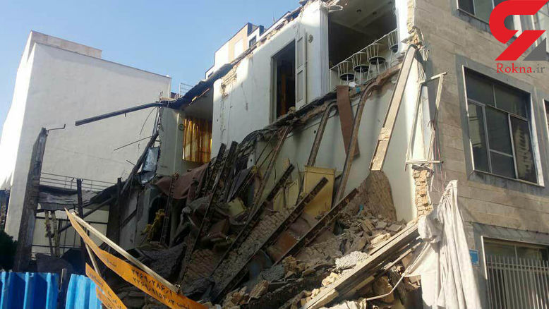 تصاویری از ساختمان سه طبقه در مرکز تهران که آوار شد/ نجات خانم ۷۰ساله از زیر آوار + فیلم