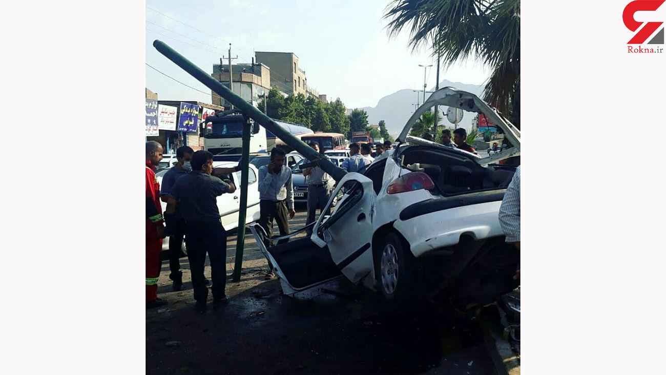تصادف مرگبار در لرستان / راننده 206 به تیرچراغ برق کوبید و جان باخت + عکس تلخ