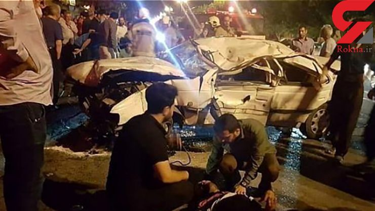 واژگونی خودرو پرشیا در بزرگراه +عکس