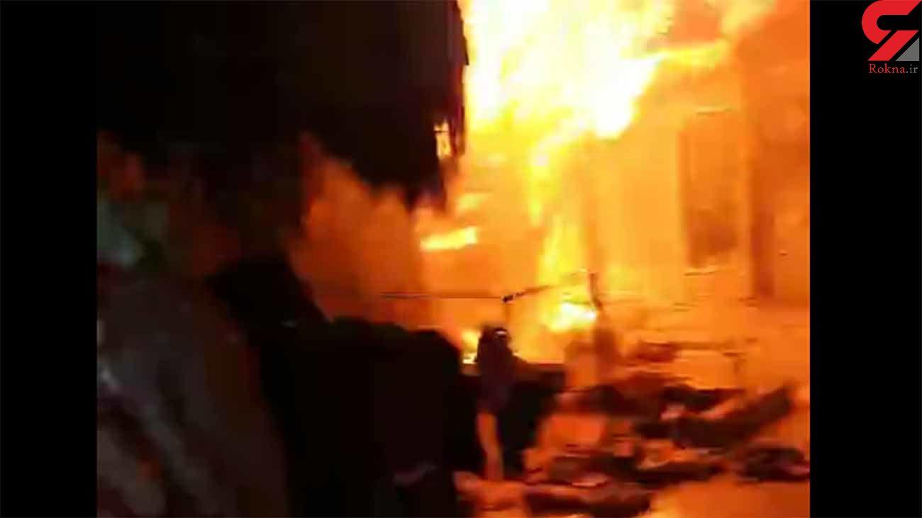 آتش سوزی وحشت آور یک پاساژ در سردشت + فیلم