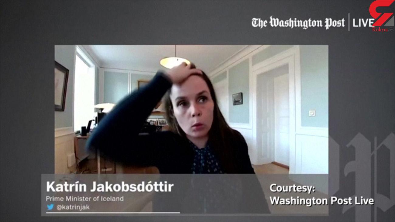 زلزله همزمان با مصاحبه خانم نخست وزیر ایسلند / او وحشت کرد + فیلم