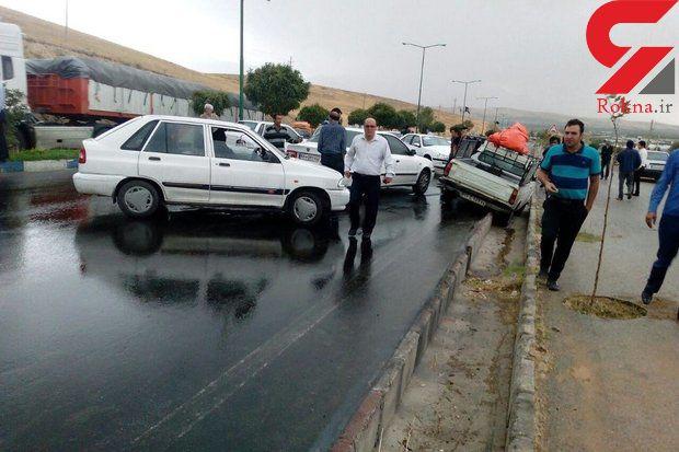 8 مصدوم تصادف زنجیره ای در گلستان راهی بیمارستان شدند + عکس