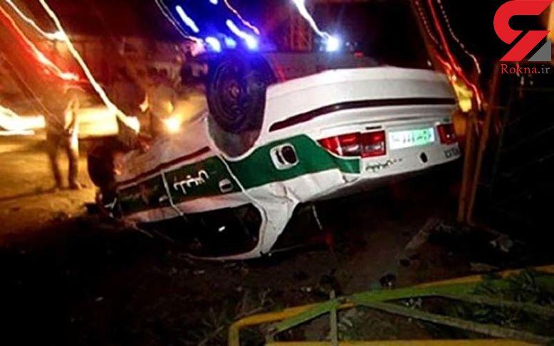 عکس از حادثه ای عجیب برای ماشین پلیس در رودبار جنوب