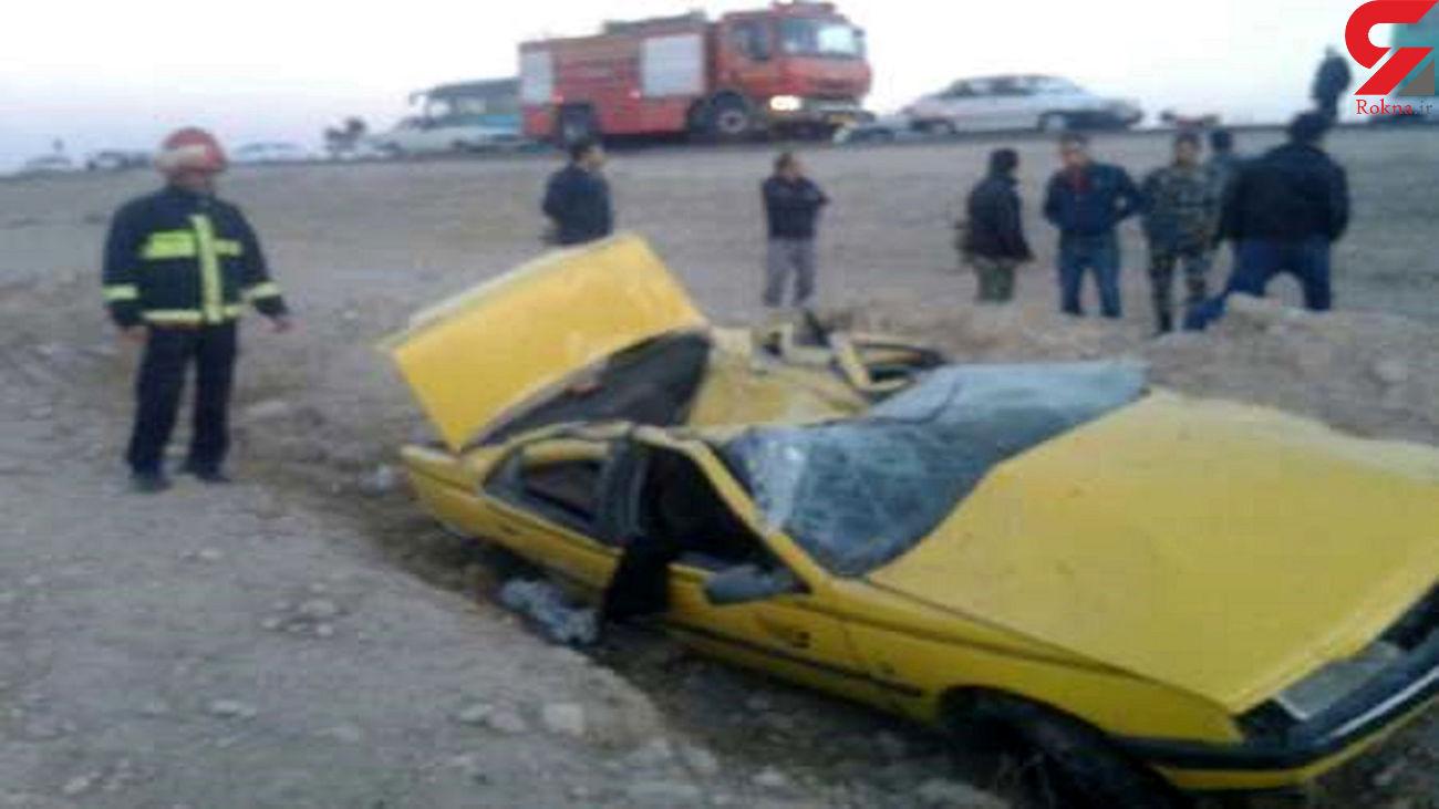 4 زخمی در واژگونی تاکسی جاده دامغان / صبح امروز رخ داد + عکس