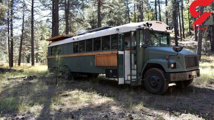 خانهای لاکچری در یک اتوبوس اسقاطی +تصاویر