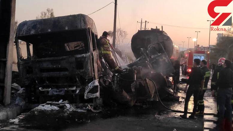 فیلم لحظه انفجار تانکر سوخت در جاده شیراز / راننده زنده زنده سوخت+ تصاویر