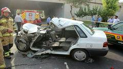 عکس جسد یک مرد تهرانی در پراید مچاله! / + عکس