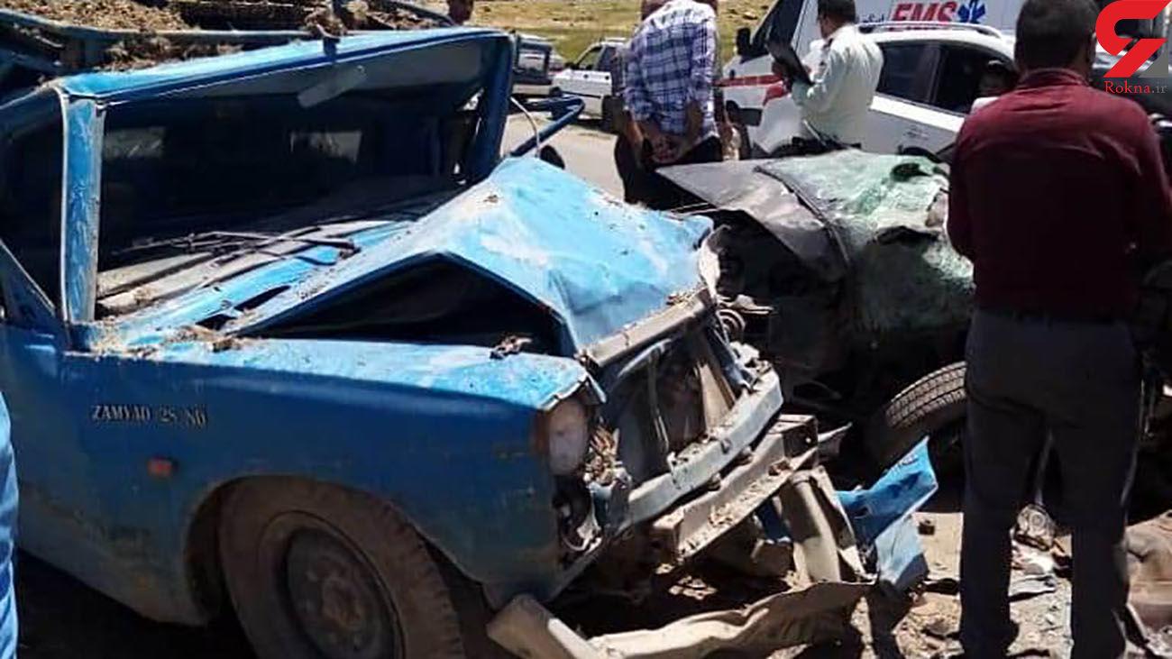 2 کشته و 3 مجروح در تصادف مرگبار پراید با نیسان / در فارس رخ داد + عکس