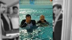 عکس / نماینده و فرماندار با کت و شلوار داخل استخر پریدند! / در مراسم افتتاح استخر شهرستان فراشبند