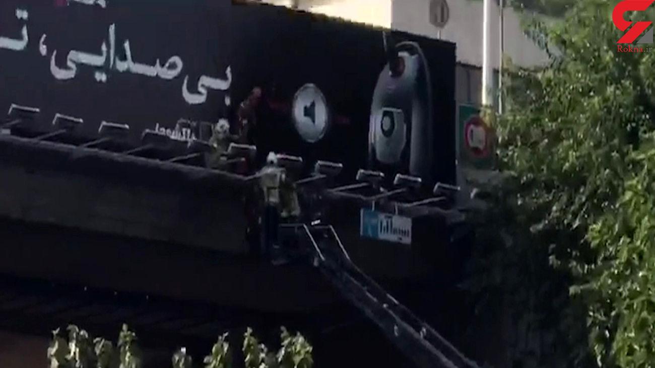 خودکشی از پل اتوبان مدرس تهران + فیلم