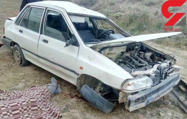 حادثه ای تلخ در جاده میامی کالپوش / واژگونی پراید یک نفر را به کام مرگ کشاند + عکس