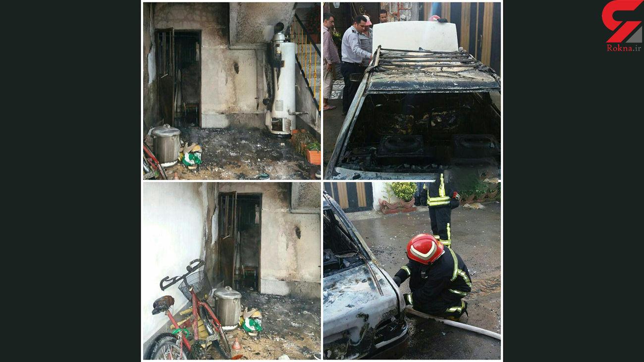 پراید در پارکینگ خانه آتش گرفت + عکس