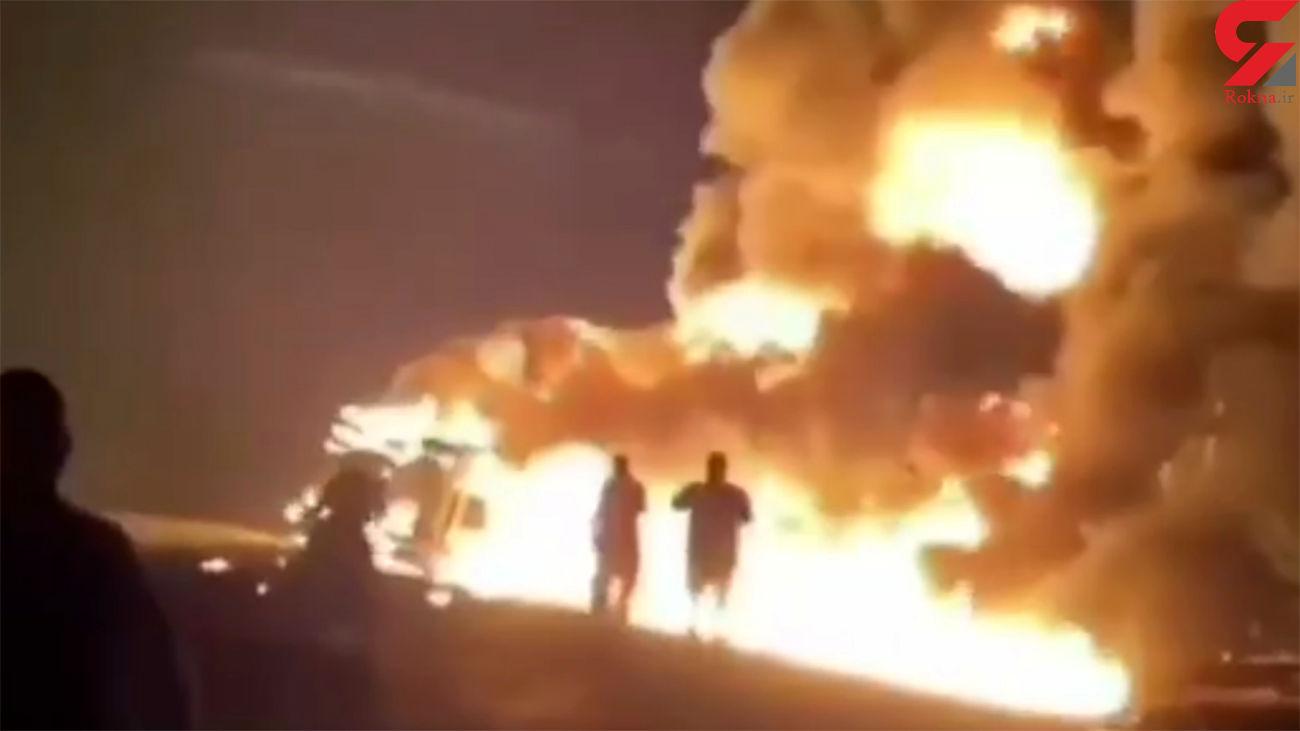 انفجار بزرگ نفتکش در جاده اهواز -اندیمشک + فیلم