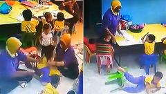 بد رفتاری با کودکان در مهدکودکی در مالزی+عکس
