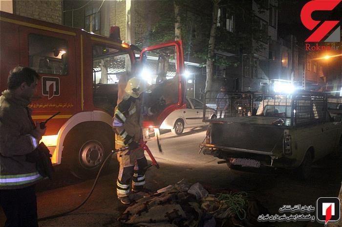 وانت بار در میدان معلم آتش گرفت + عکس