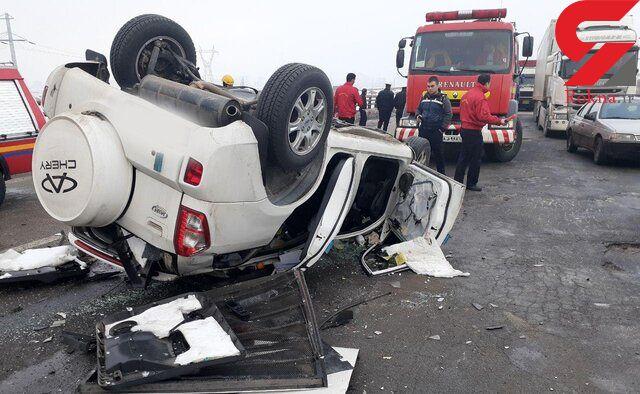 عکس هولناک از چپ کردن ام وی ام / 2 کشته در اتوبان آذربایجان شرقی