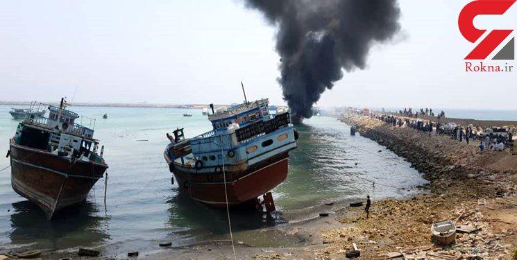 آتش سوزی در یک فروند لنج تجاری در اسکله بندر بوالخیر دلوار