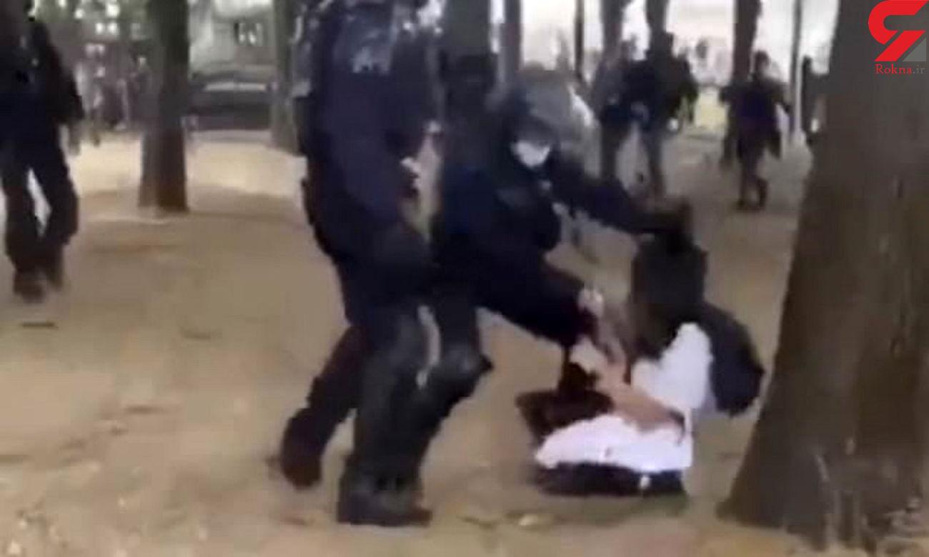 فیلمی که دنیا را شوکه کرد / رفتار خشن پلیس با خانم پرستار ! / فرانسه