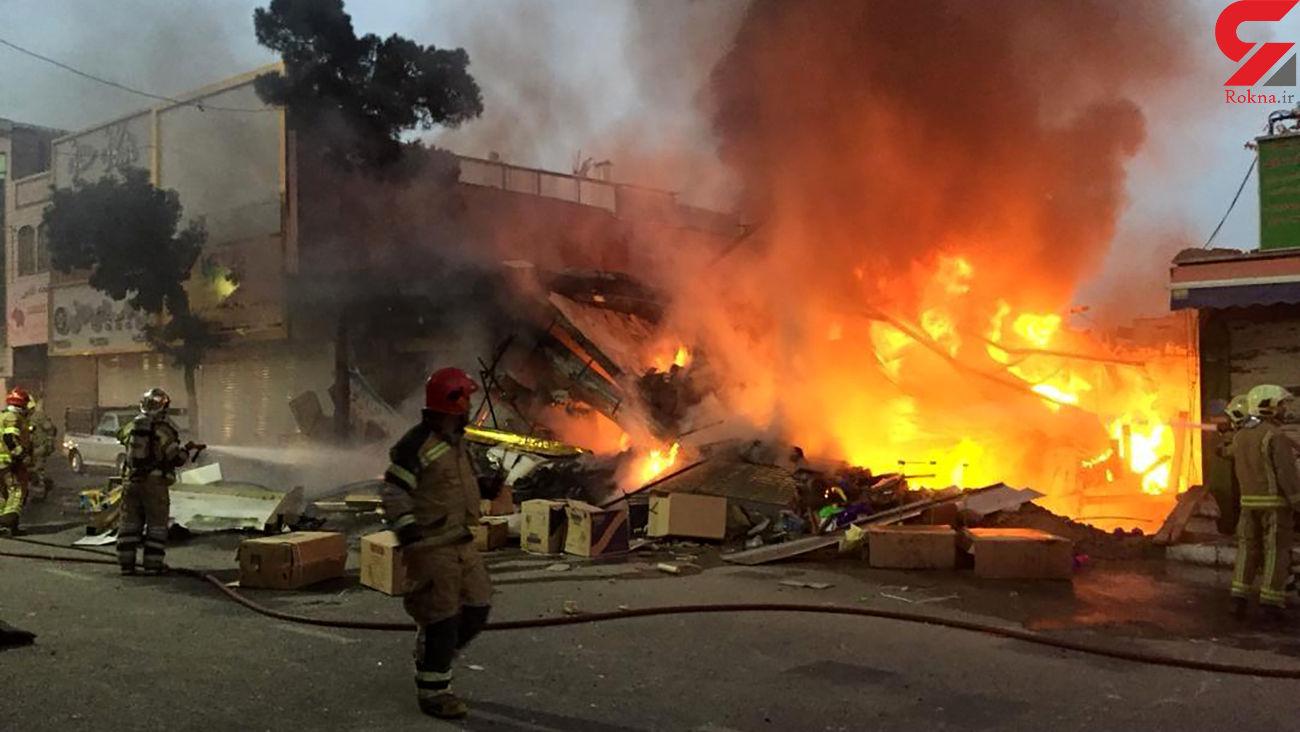 فیلم وحشتناک از آتش سوزی و فرو ریختن یک ساختمان در تهران + عکس