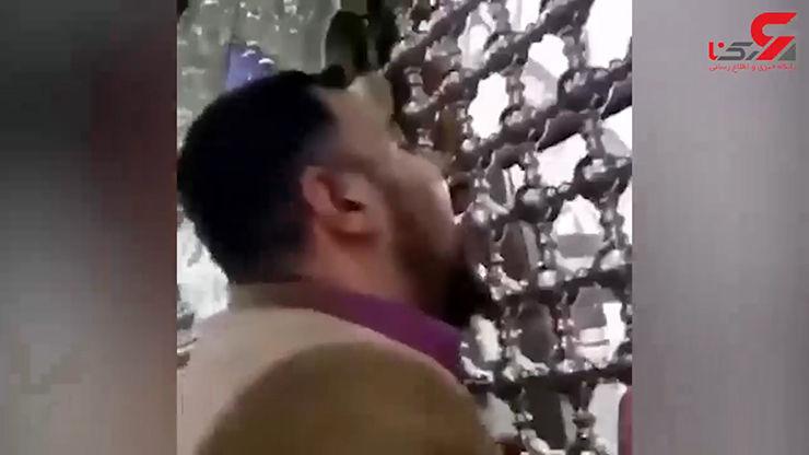 بازداشت مردی که ضریح امام رضا (ع) را لیس زد / کرونا جدی است ! + فیلم