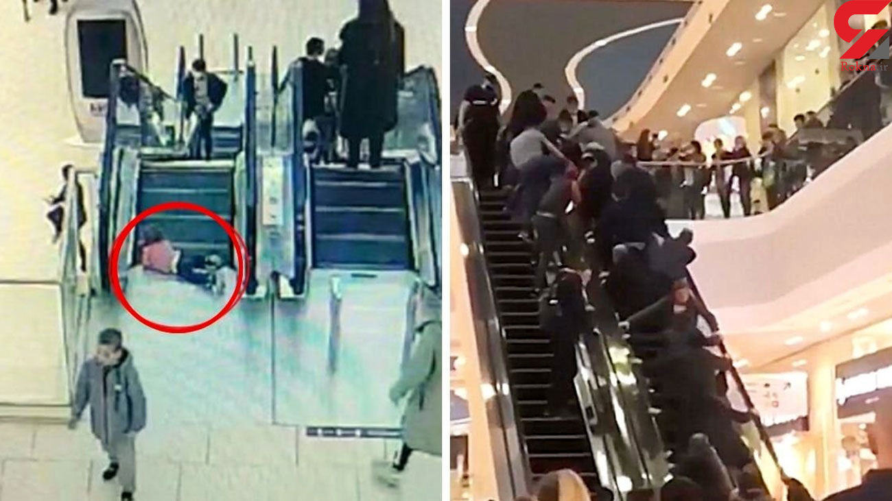 Terrified toddler's fingers trapped in escalator as dozens of shoppers rush to help her