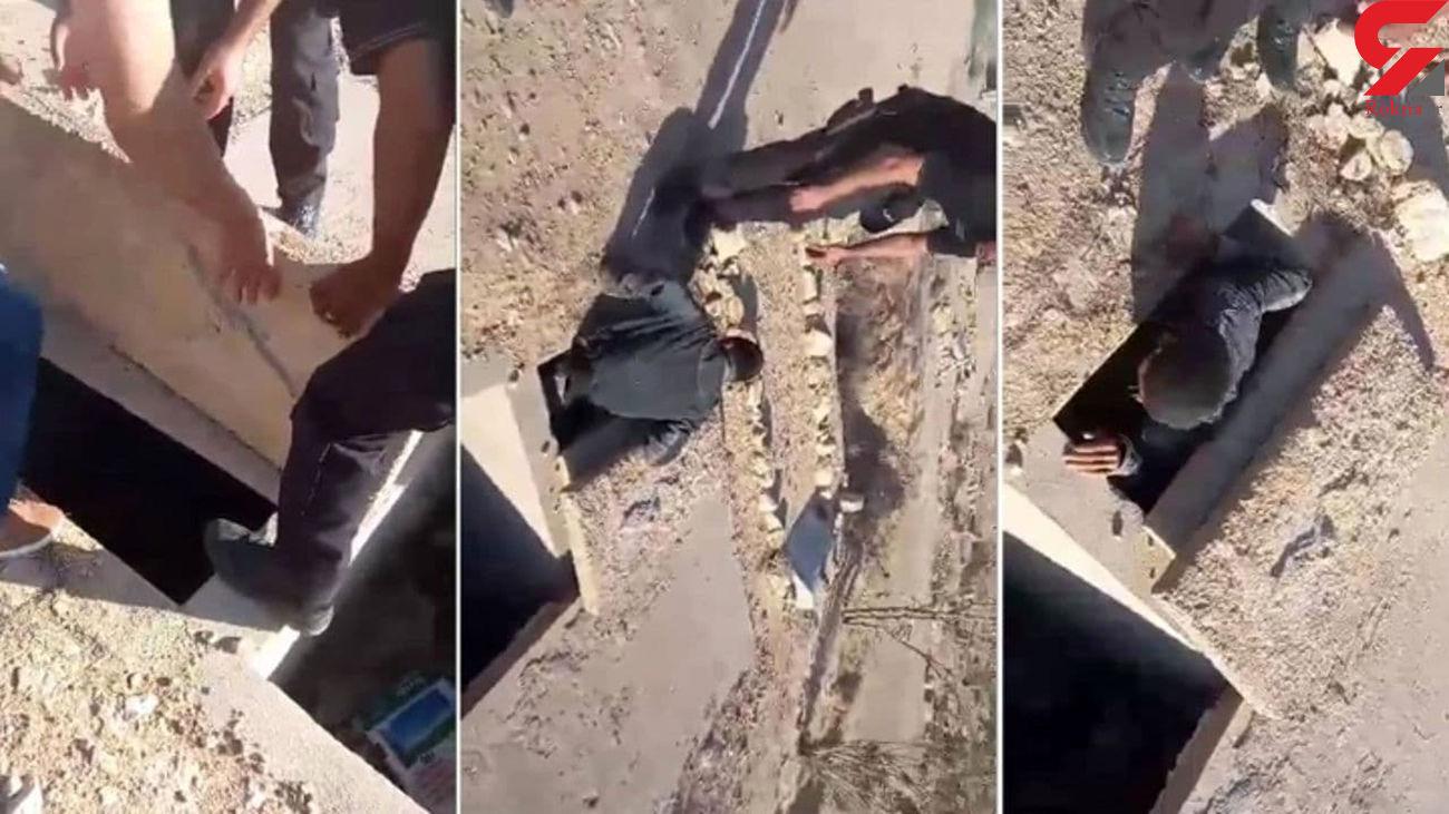 تماس با پلیس تونس در قبر / این مرد خود را زنده به گور کرد + عکس