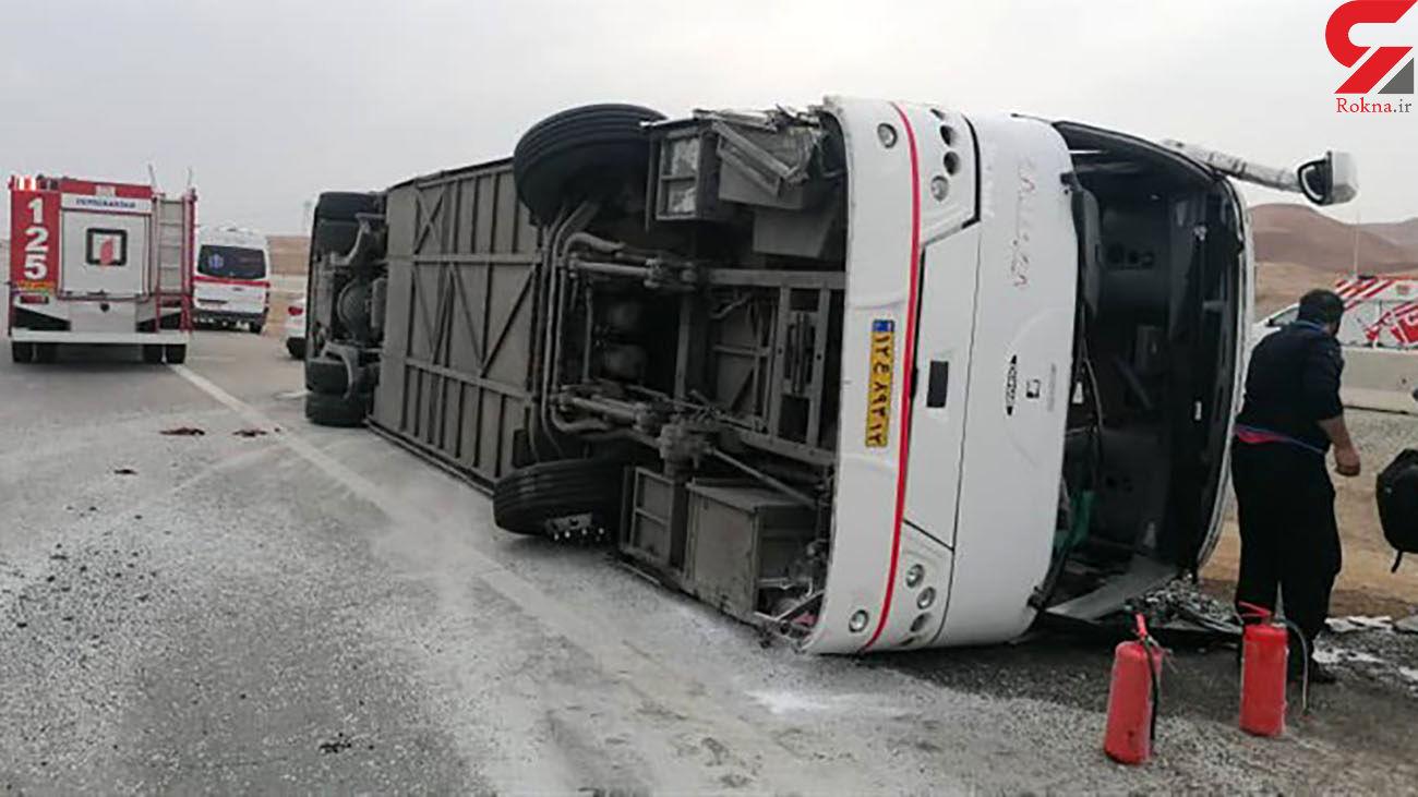 واژگونی اتوبوس مسافربری در جاده همدان به کرمانشاه + عکس ها