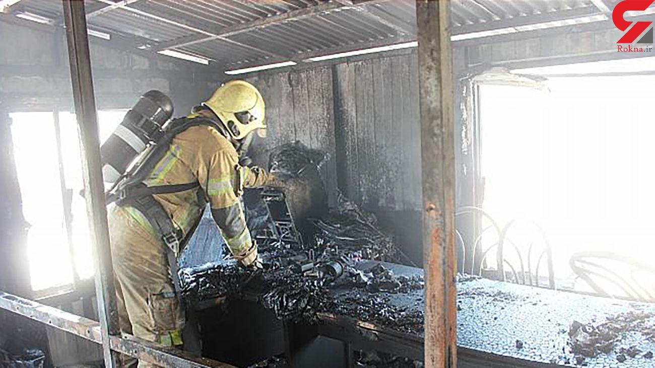 آتش سوزی در کانکس کارگری بیمارستان در حال احداث/ در تهران رخ داد + عکس ها