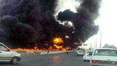 عجیب ترین عکس از انفجار تانکر بنزین در بزرگراه + عکس