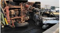 عکس های وحشتناک از تصادف کامیون در جاده قزوین / تویوتا در آتش سوخت