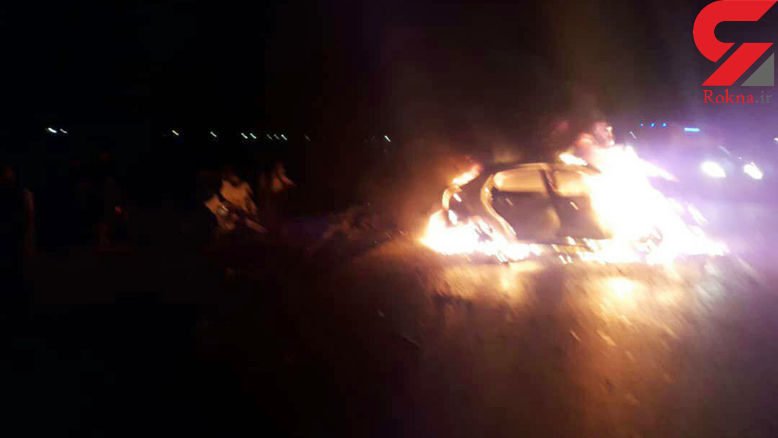 زنده زنده سوختن 2 مرد و یک زن و بچه در تصادف هولناک جاده آبادان + فیلم و عکس 16+