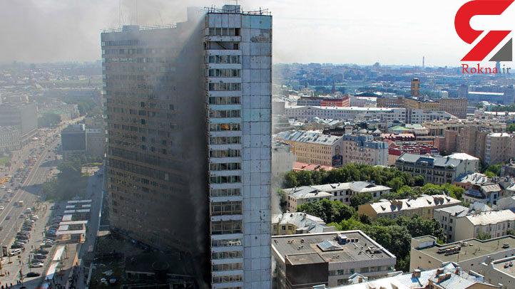 آتشسوزی مهیب در ساختمان کتاب در مرکز مسکو + تصاویر