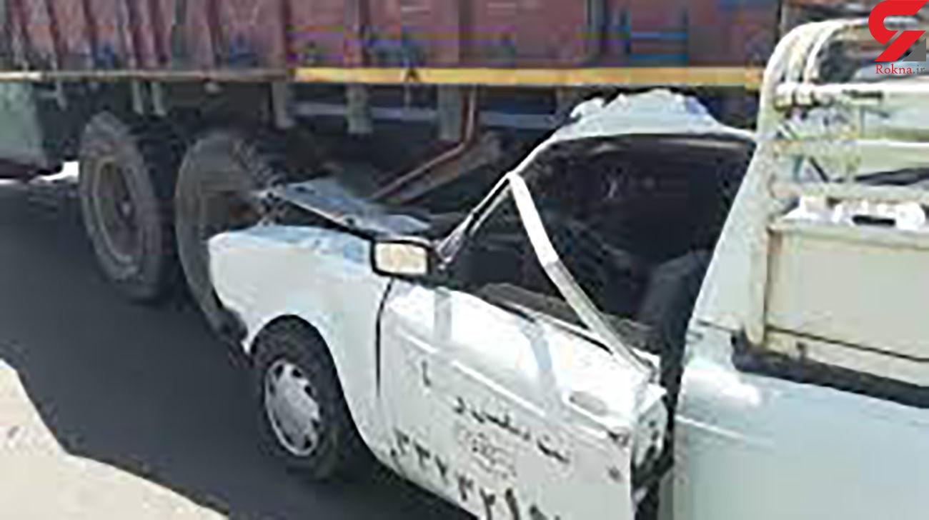 تصادف مرگبار وانت با کامیون / زوج جوان در خودرو له شدند + عکس