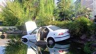 سقوط خودرو سواری در برکه پارک شهری+ عکس