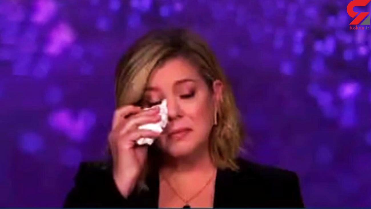 گریه خانم مجری از ترس کرونا در امریکا + فیلم